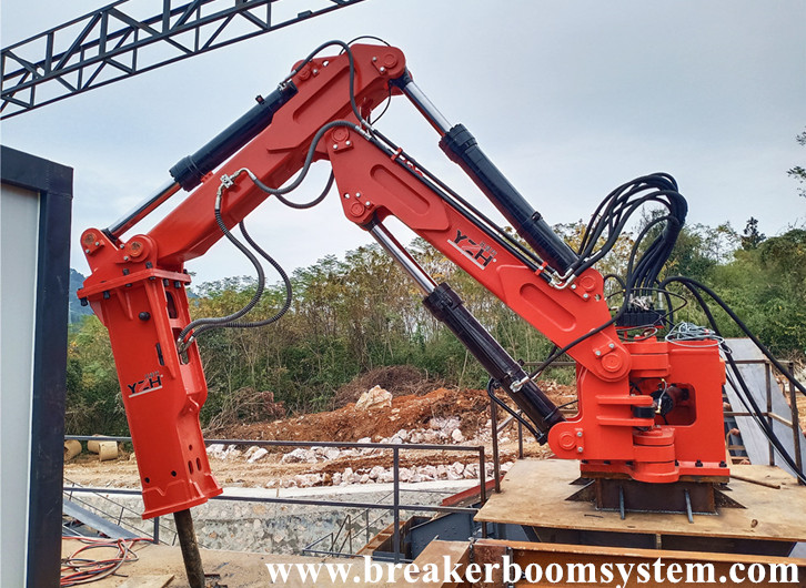 Hunan Aggregate Plant Successfully Installed A Fixed Type Pedestal Rockbreaker