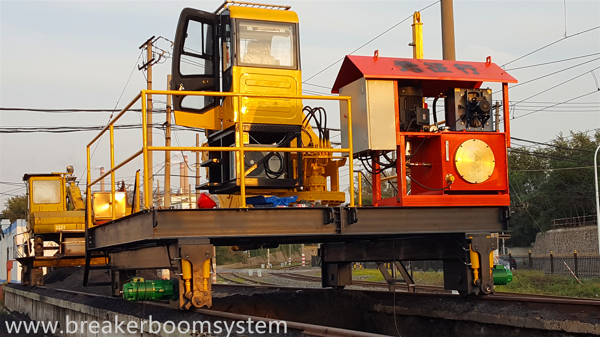 Track movable type pedestal booms system