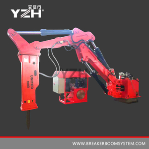 Pedestal Rock Breaker Booms System For Mining Or Grizzly